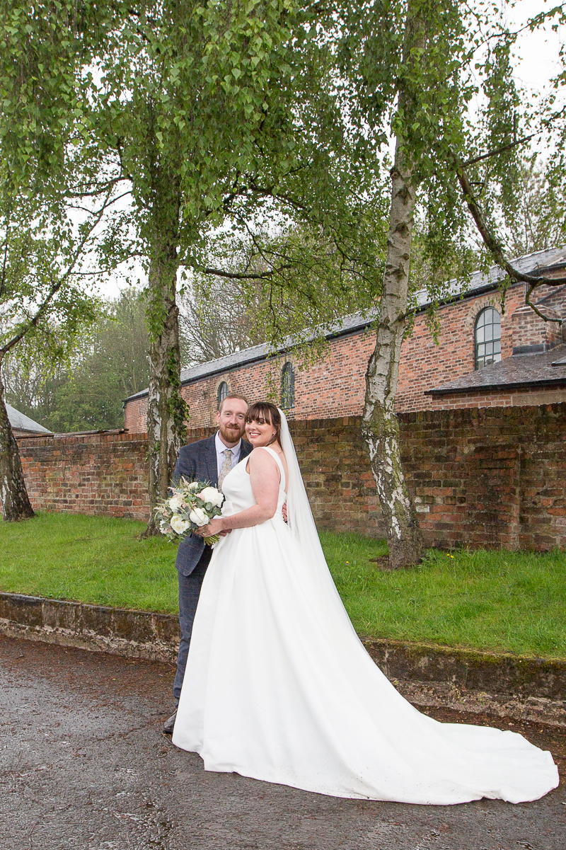 Bride and groom portraits at Elsecar Heritage Centre on their wedding day