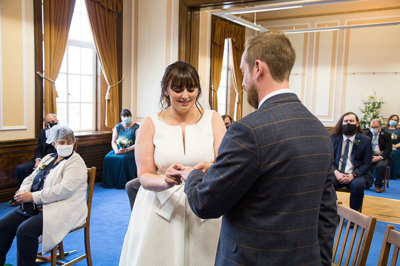 The wedding ceremony socially distanced at Barnsley Town Hall wedding Photographer South Yorkshire