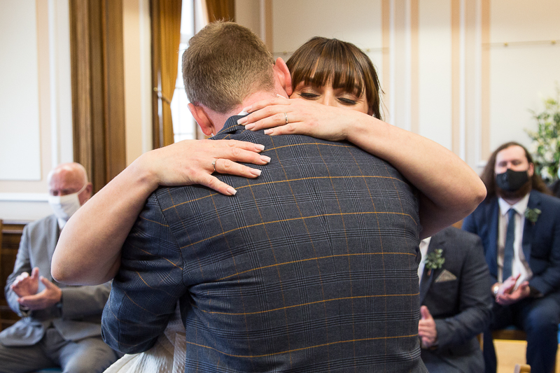 The couple hugging after the wedding ceremony at Barnsley Town Hall wedding Photographer South Yorkshire