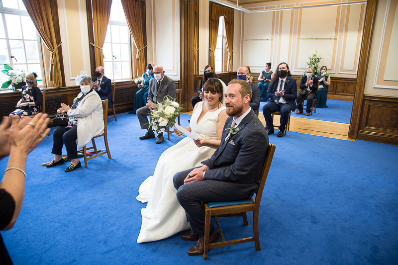 Couple during their wedding ceremony at Barnsley Town Hall wedding Photographer South Yorkshire