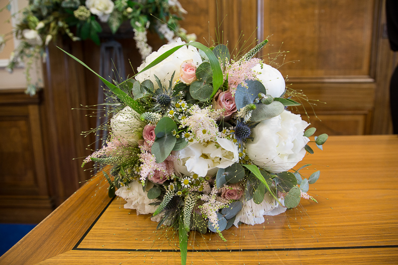 Bridal bouquet by Flourish Flowers at Barnsley Town Hall