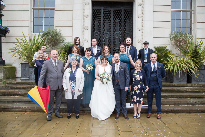 Group photograph at the front of Barnsley Town Hall