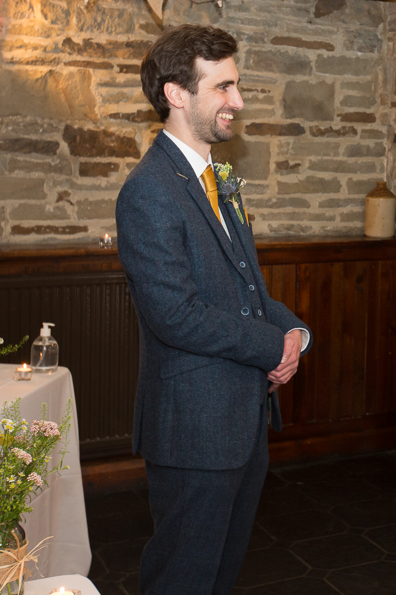 Groom before the wedding ceremony at Cubley Hall
