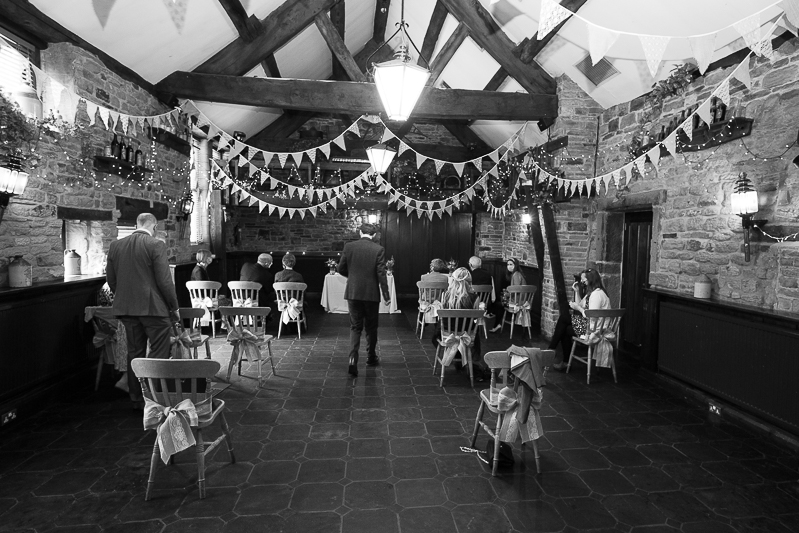 The barn at Cubley Hall set up for a wedding