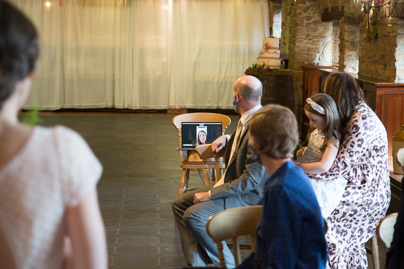 Wedding reading being delivered by a video link South Yorkshire wedding photographer