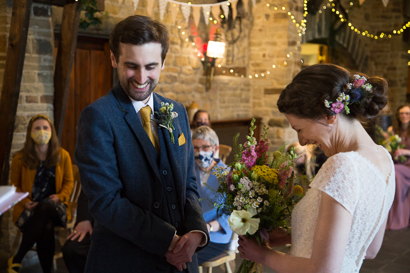 Couple laughing during wedding ceremony South Yorkshire wedding photographer