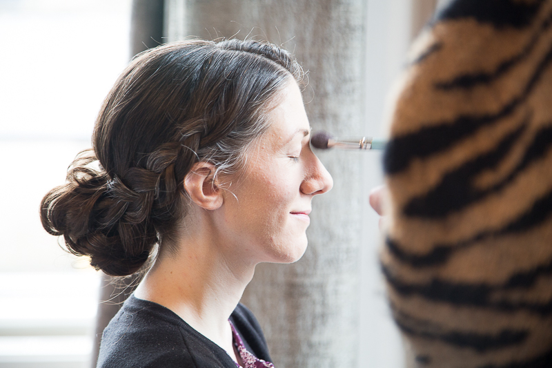 Bride having her makeup done at Cubley Hall Hotel Wedding