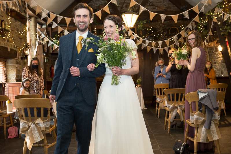 Couple smiling after their wedding ceremony at Cubley Hall Penistone