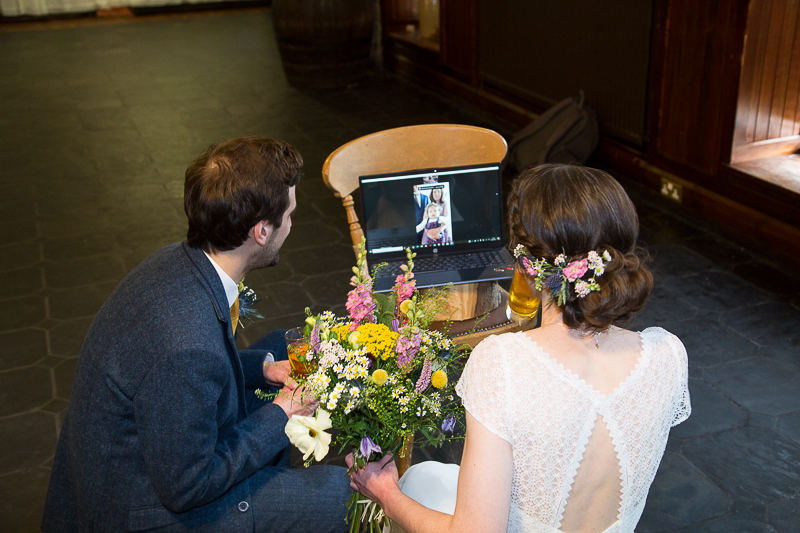 Couple talking to their virtual guests at a covid wedding in Cubley Hall Hotel