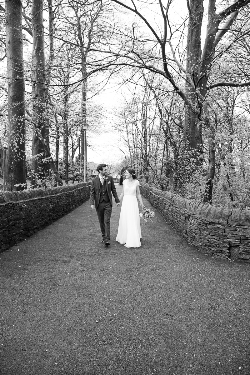 Bride and groom laughing together at Cubley Hall Hotel Sheffield