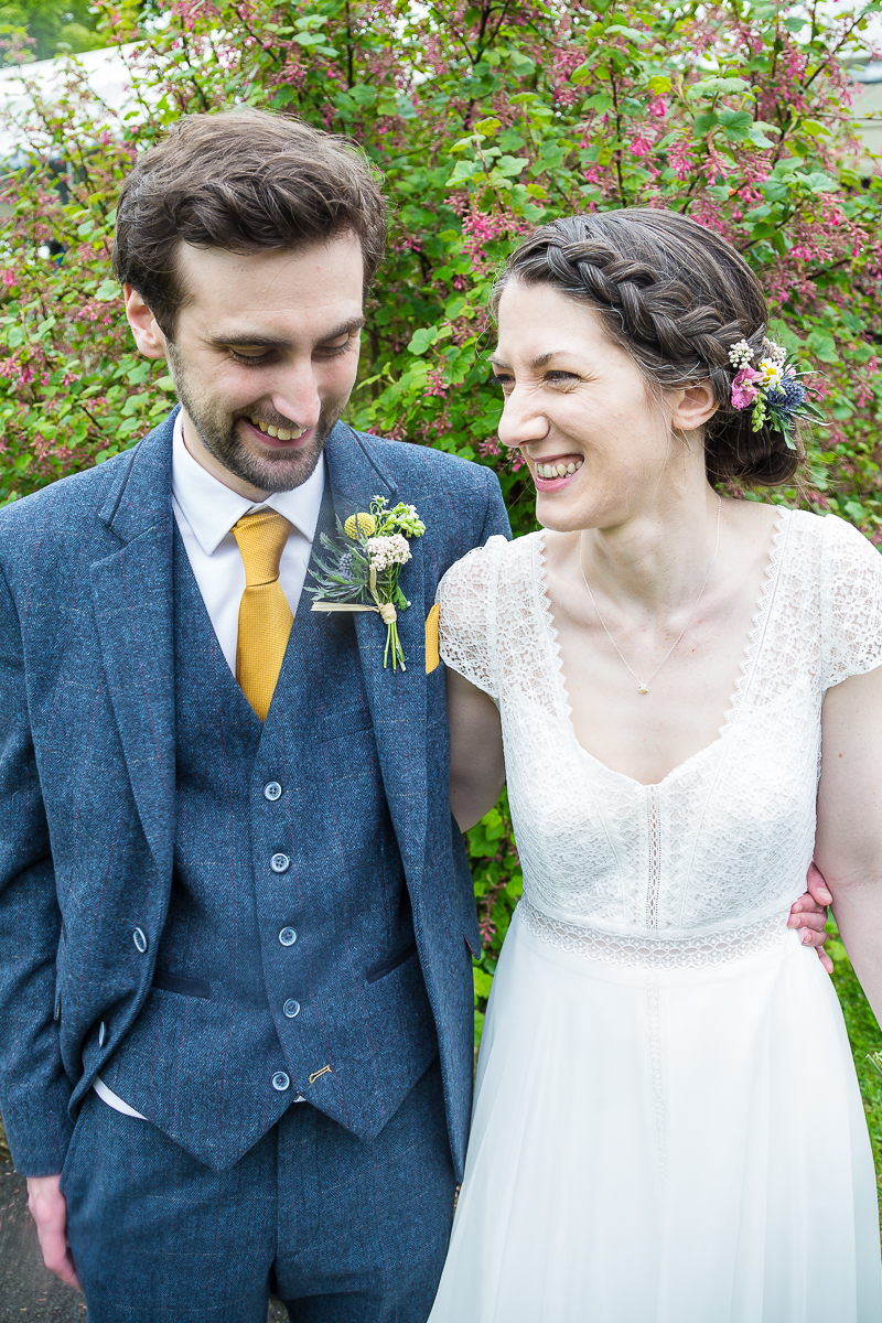 Bride and groom laughing at Cubley Hall Hotel Penistone
