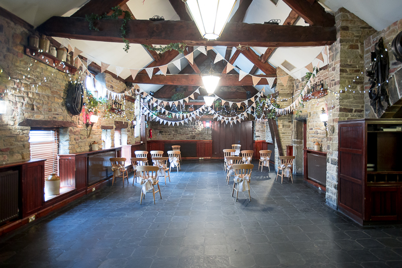 Cubley Hall hotel set up for restricted guests at a socially distanced wedding