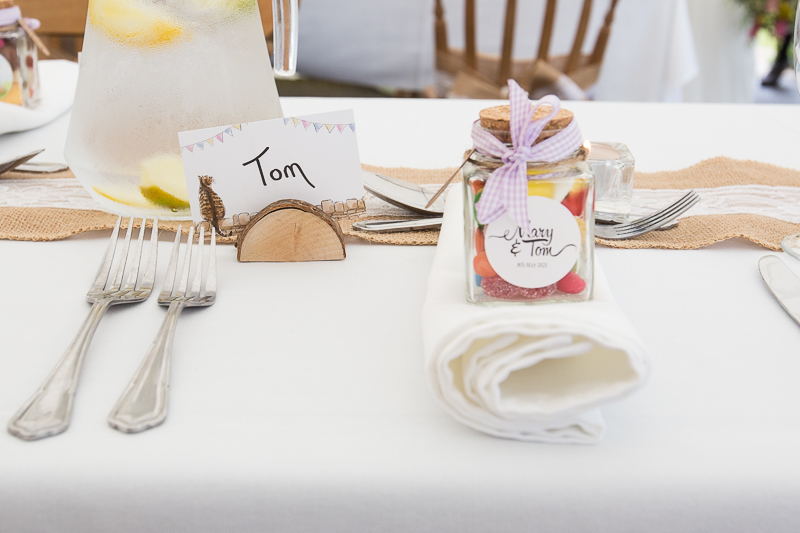 Sweet jar wedding favours at Cubley Hall Hotel Penistone