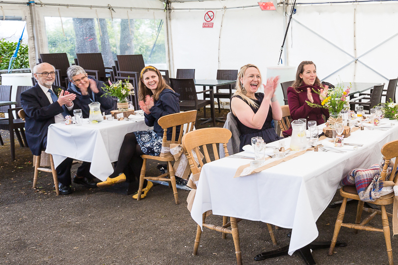 Guests cheering in the open marquee at Cubley Hall Hotel Penistone