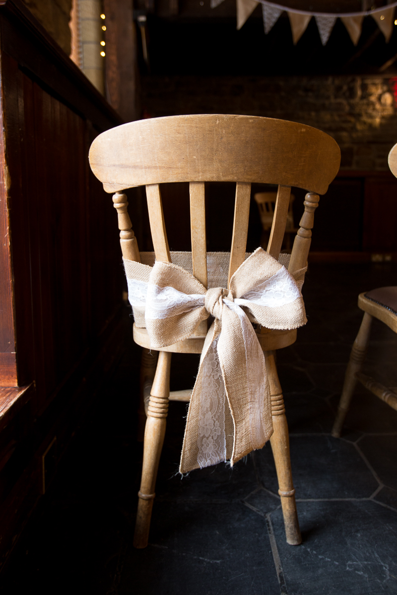 Hessian bow on back of chairs at Cubley Hall Hotel