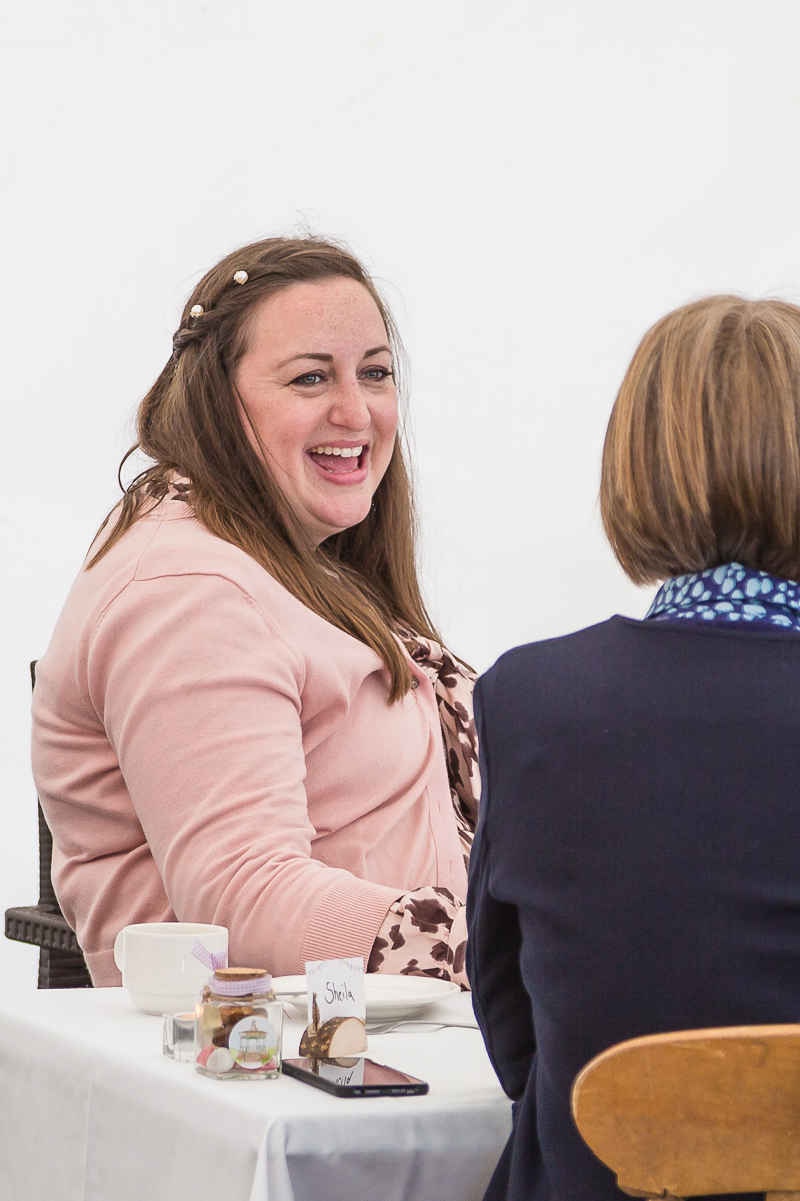 Wedding guest slaughing during wedding breakfast at Cubley Hall South Yorkshire