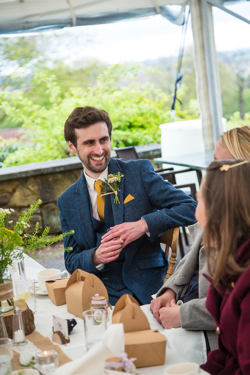 Groom during the wedding breakfast at Cubley Hall South Yorkshire