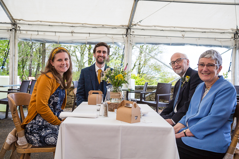 Guests during the outdoor wedding breakfast at Cubley Hall