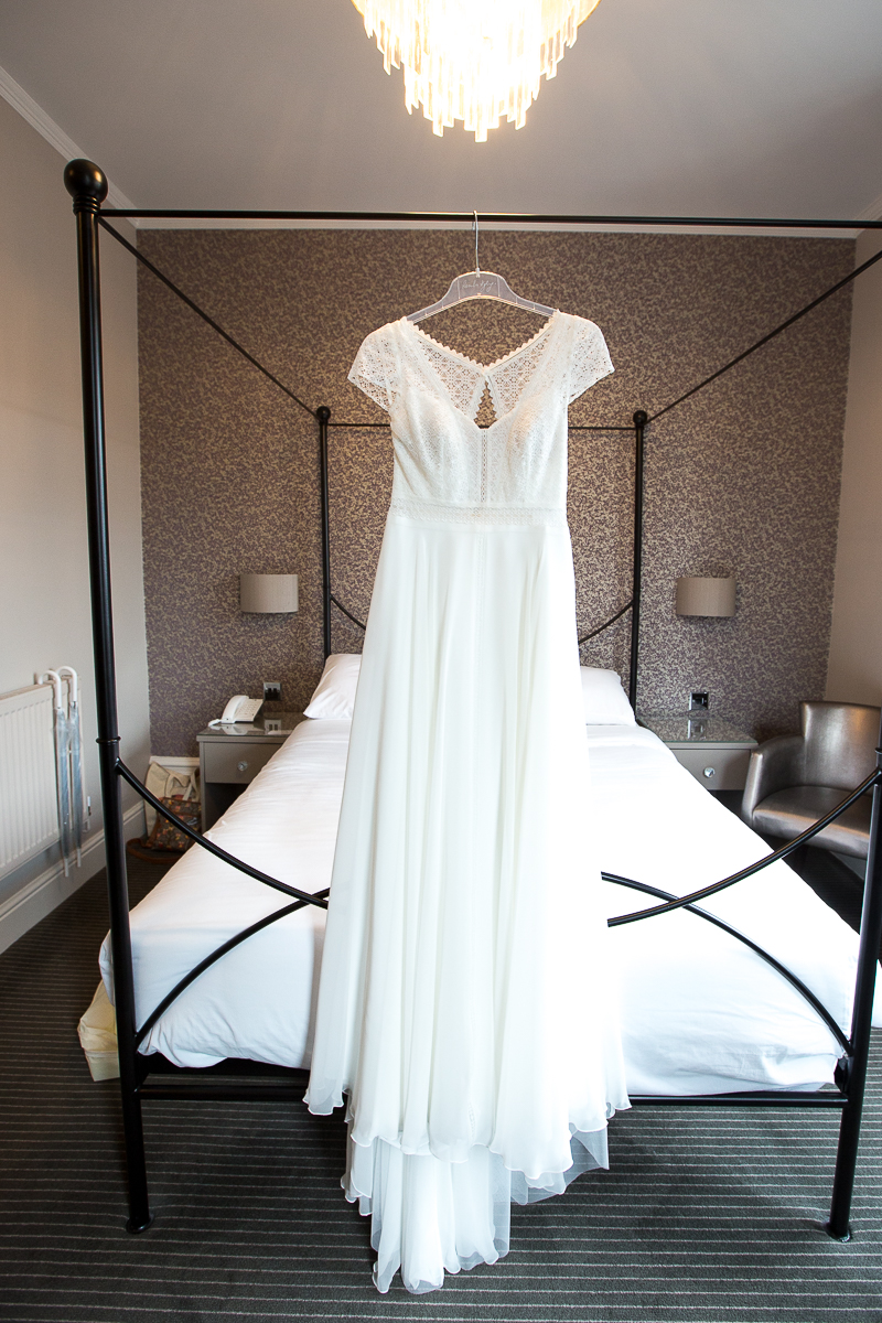 The wedding dress hanging at Cubley Hall