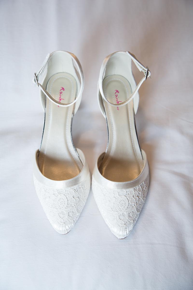 White bridal shoes by Rainbow Club