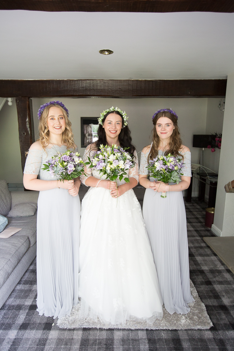 Bridesmaids and the bride before the wedding ceremony at Waterton Park Hotel Yorkshire