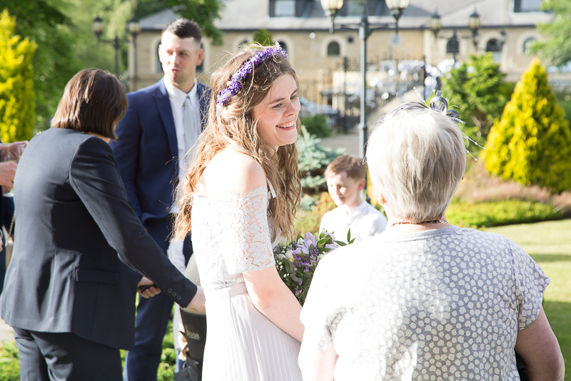 Guests laughing at Waterton Park Hotel wedding