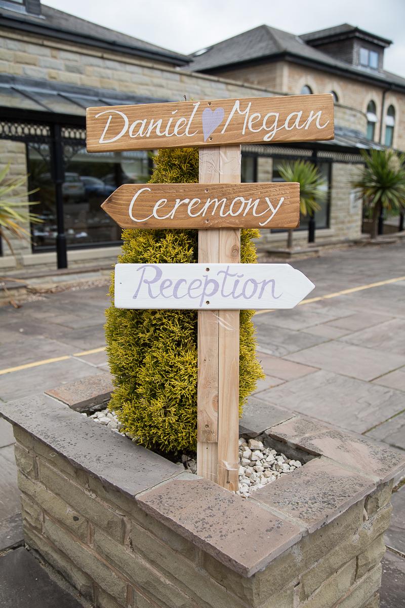 A wedding signpost at Waterton Park Hotel Yorkshire