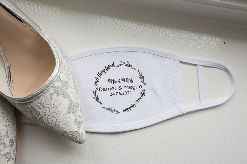 Personalised face masks for a covid restricted wedding