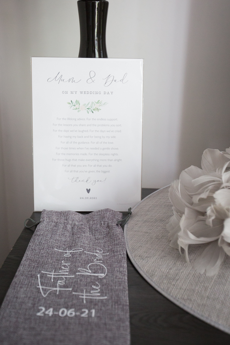 Mother and Father of the bride gifts and poem