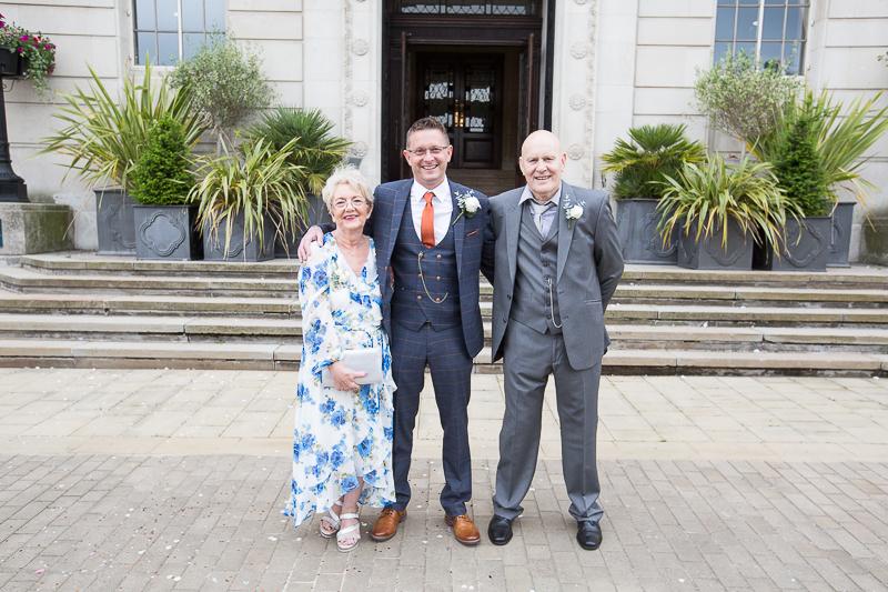 Group Shots outside Barnsley Town Hall Wedding