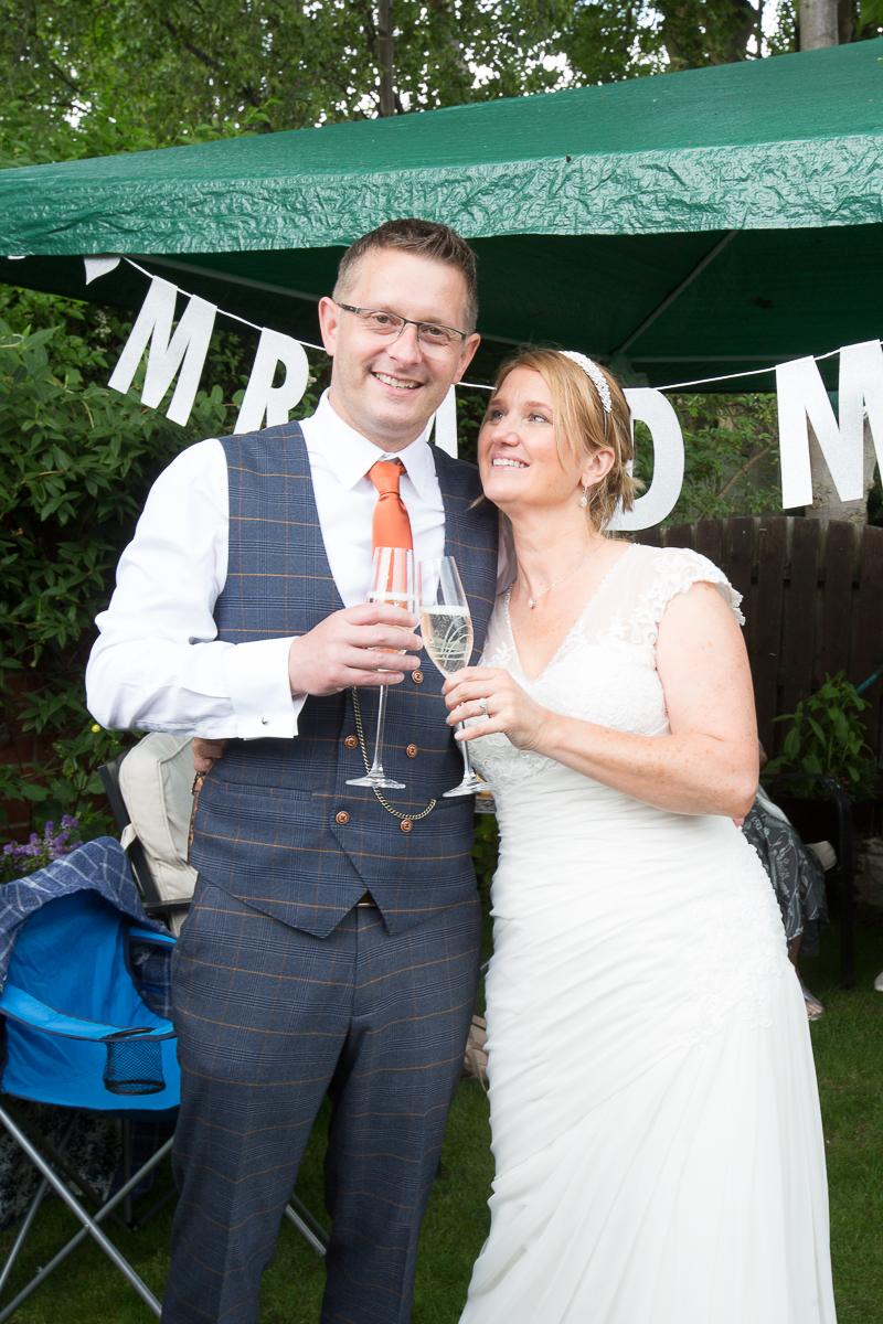 Back garden wedding reception for a covid wedding