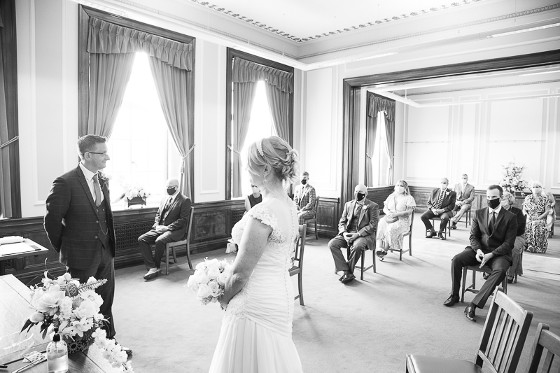 Couple at their socially distanced wedding ceremony at Barnsley Town Hall