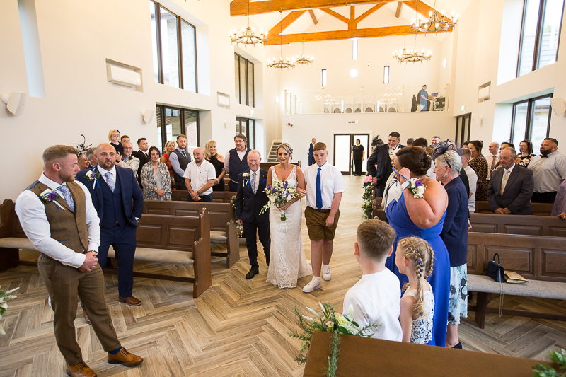 Wedding ceremony in the chapel at Burntwood court hotel