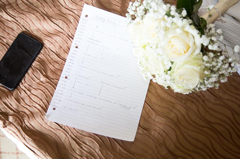 Checklist of the morning Wortley Hall Sheffield Wedding