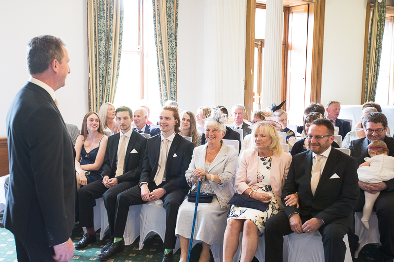 Grooms family in the ceremony room at Wortley Hall Sheffield Wedding