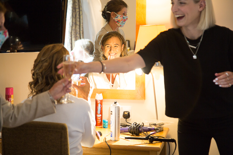 Bridal party laughing on the morning of the wedding Wortley Hall Sheffield Wedding