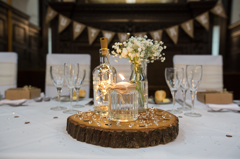 Simple table decorations at Wortley Hall Hotel