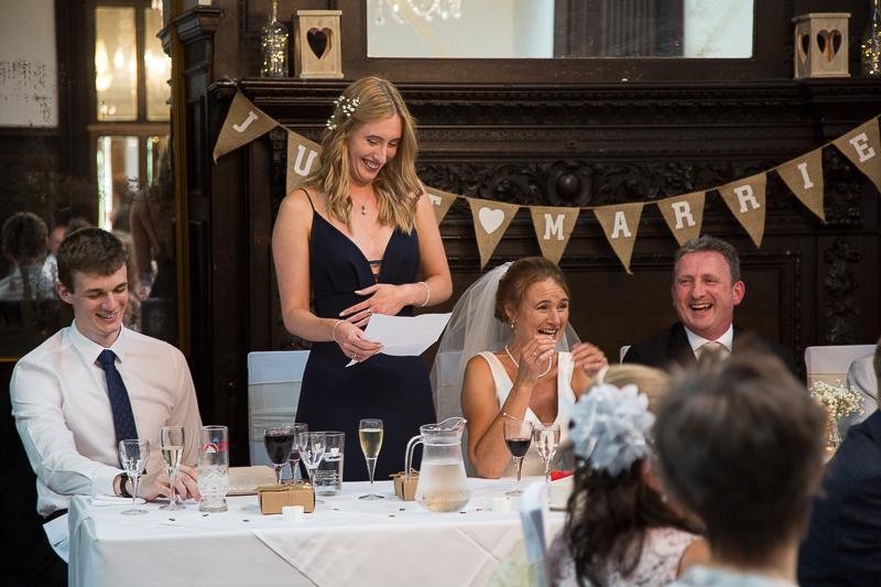 Wedding speeches at Wortley Hall Hotel Sheffield