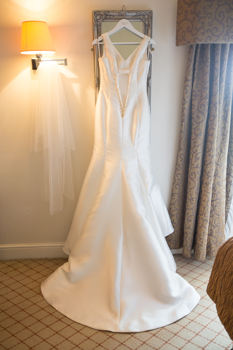The wedding dress and veil from wed2b