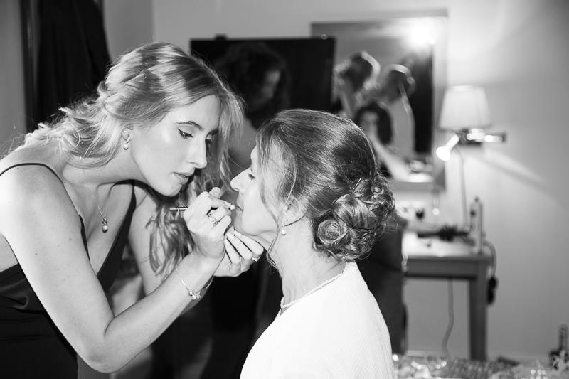 Bride having her makeup done Wortley Hall Sheffield Wedding